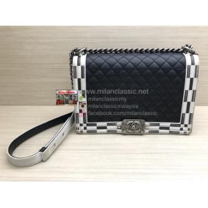 SOLD-CHANEL Black & White Lambskin New Medium Boy Bag