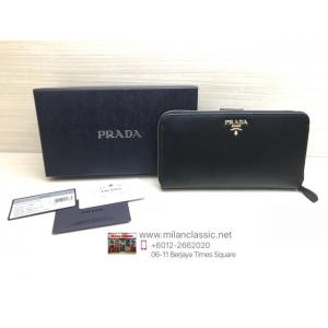 NEW - PRADA Black Leather Multi-Compartment Long Wallet