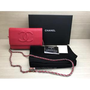 CHANEL Wallet On Chain SHW Red Caviar Leather