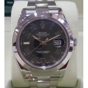"SOLD - ROLEX 116300 Oyster Perpetual Datejust II Dark Grey Roman Letter Dial Auto S/S 41mm ""Random Serial"" (With Box"