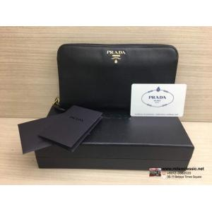 PRADA Black Leather Zipped Wallet