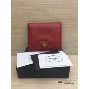 PRADA Red Leather Fold Wallet