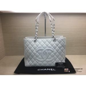 SOLD - CHANEL White Caviar Leather Silver Hardware Grand Shopping Tote