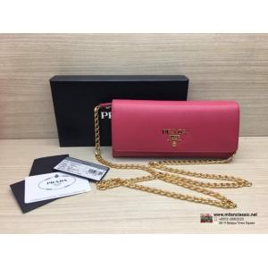 RESERVED - NEW - PRADA Pink Leather Wallet On Chain