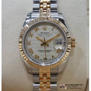 SOLD-ROLEX 179173 Lady Ivory Pyramid Roman Letter 18K+SS Auto 26mm (With Card + Box)