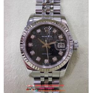 "SOLD-Rolex 179174 Ladies Black Computerized Diamond Index Dial 18K/SS Auto 26mm ""Z-Series"" (With Box)"