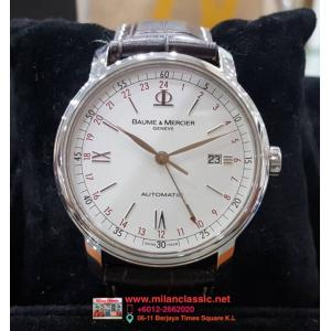 SOLD - BAUME & MERCIER Classima GMT White Dial S/S Auto 42mm(With Box)
