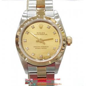 RESERVED - Rolex 76183 Ladies Champagne Diamonds Index Dial Auto 18K/SS 25mm(With Card+ Box)