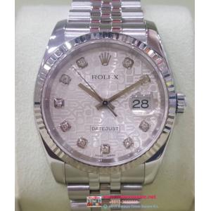 "SOLD - ROLEX 116234 Gents Silver Computerize Diamonds Index Auto 18K/SS 36mm ""D Serial""(With Box + Card)"
