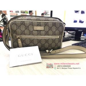 GUCCI Waterproof Canvas White Leather Trim Crossbody Bag