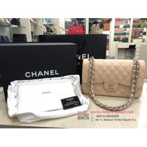 CHANEL Beige Caviar Leather Jumbo SHW Classic Double Flap Bag