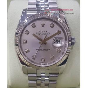 "ROLEX 116234 Silver With Diamond Index Dial Auto 18K/SS 36mm ""Z-Serial"" (With Box )"