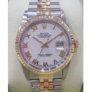 SOLD - ROLEX 16233 White Dial Roman Letter 18K/SS Auto 36mm (With Box)