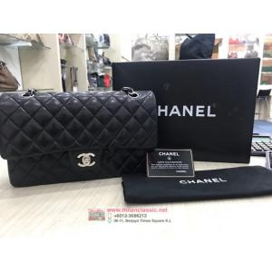 SOLD - CHANEL Classic Double Flap Black Lambskin SHW Medium Bag