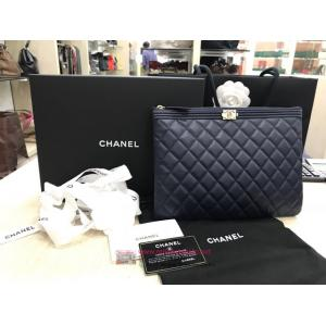 SOLD - NEW - CHANEL Boy Chanel Pouch Lambskin Deep Blue - NETT PRICE