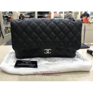 CHANEL Classic Jumbo Black Caviar Leather Double Flap SHW