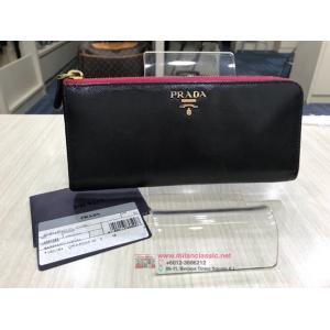 PRADA Black Pink Long Zipped Wallet - NETT PRICE