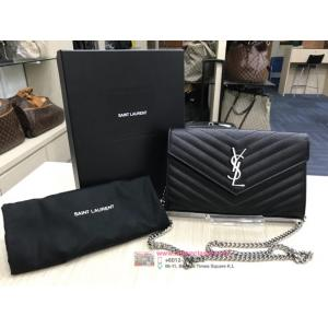 SOLD-YSL Chain Wallet In Black Matelasse Leather