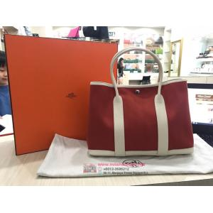 NEW - HERMES Garden Party 36 Cowhide With Chevron Canvas Lining Palladium Plated Clou de Selle Snap Closure