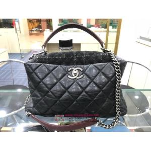 SOLD - CHANEL Aged Leather Tweed 2-Way Chain Bag