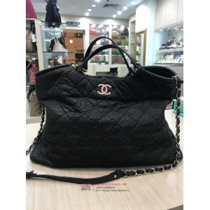 SOLD-CHANEL Black Leather 2-Way Bag