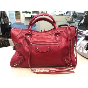 NEW - BALENCIAGA Red Classic Silver City Bag