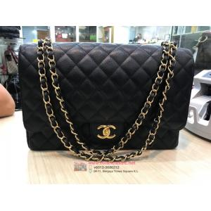 SOLD-CHANEL Classic Maxi Jumbo Caviar Leather GHW