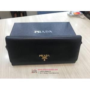 SOLD-PRADA Black Leather Long Wallet