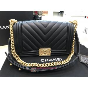 NEW - CHANEL Boy Chanel Handbag Lambskin Gold-Tone Metal