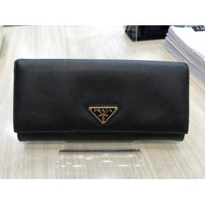 PRADA Black Leather Long Wallet With Extra Card Holder