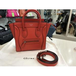 CELINE Leather Nano Luggage Bag In Orangy Red