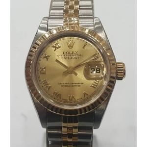 SOLD - ROLEX 69173 Ladies Gold Roman Letter Dial Auto 18K/SS 26mm (With Card + Box)