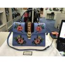 SOLD - GUCCI Sylvie Floral Embroidered Leather Top Handle Satchel Bag