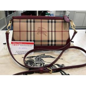 BURBERRY Red Leather Check Canvas Crossbody Pouch Bag