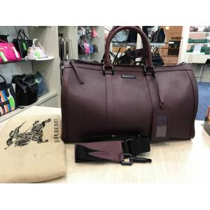 BURBERRY Maroon Leather Cabin Size Travel Bag