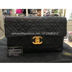 SOLD - CHANEL Vintage Lambskin Classic Single Flap XL GHW