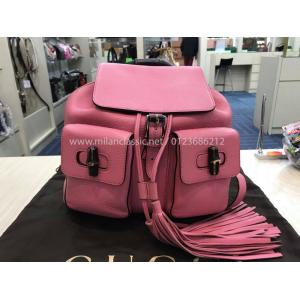 GUCCI Iconic Bamboo Handle Pink Leather Backpack