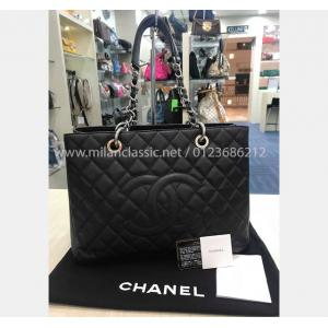 CHANEL Grand Shopping Tote In Grained Leather Silver-Tone Metal