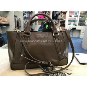BURBERRY Coated Leather Hazenut Color 2-Way Bag