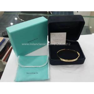 NEW - TIFFANY & CO 750 Yellow Gold With 2 Diamond Bangle (With Card + Box)