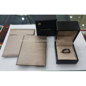 NEW - BVLGARI Black Ceramic & Diamond Ring (With Card + Box)