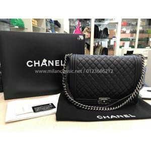 SOLD-CHANEL Calfskin & Ruthenium Finish Metal Large Boy Chanel Handbag