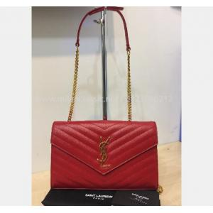 YSL Wallet On Chain In Red Leather