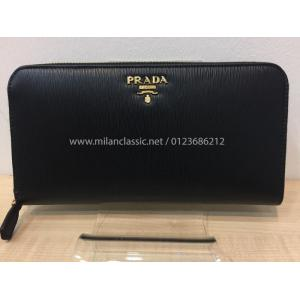 SOLD - NEW - PRADA Black Leather Zipped Wallet