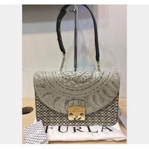 NEW - FURLA Print Leather Shoulder Bag
