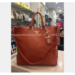 PRADA Orange Brown Leather Bag (With Leather Strap)