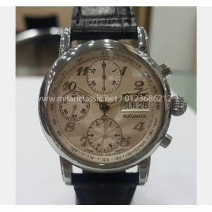 SOLD - MONT BLANC Meisterstuck Chrono Day-Date Silver Guilloche Dial  S/S Auto 37mm(Box)