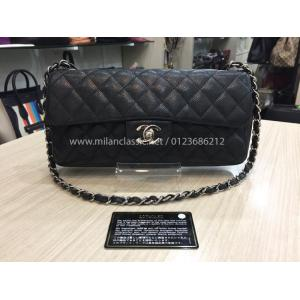 SOLD - CHANEL Classic Single Flap Bag Black Cavoar Leather SHW