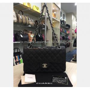 SOLD - CHANEL Lambskin & Silver-Tone Metal Black Classic Handbag