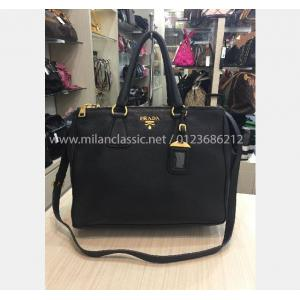 PRADA Black Calf Leather Shoulder Bag With Detachable Adjustable Leather Strap